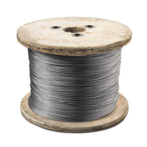 8 mm Rostfrei V4A 1 m bis 1000 m Edelstahl Drahtseil Seil 1 x 19 Stahlseil 1mm
